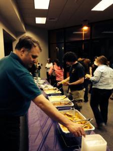 Lee serving nachos