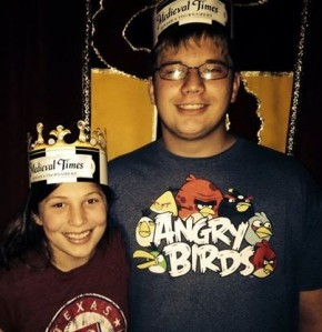 Mancub and Watergirl at Medieval Times for his birthday.